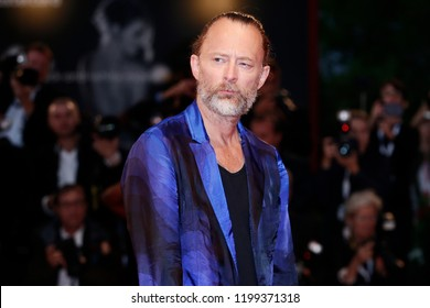 VENICE, ITALY - SEPTEMBER 01: Thom Yorke walks the red carpet of the movie 'Suspiria' during the 75th Venice Film Festival on September 1, 2018 in Venice, Italy.