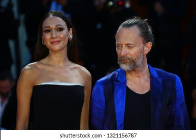 VENICE, ITALY - SEPTEMBER 01:  Thom Yorke and Dajana Roncione walks the red carpet ahead of the 'Suspiria' screening during the 75th Venice Film Festival on September 1, 2018 in Venice, Italy.