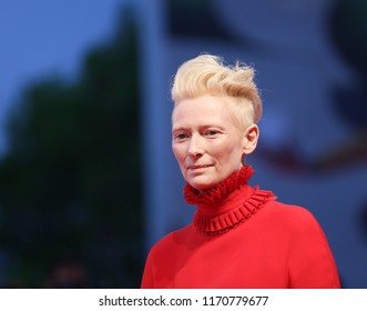 VENICE, ITALY - SEPTEMBER 01: Tilda Swinton walks the red carpet ahead of the 'Suspiria' screening during the 75th Venice Film Festival at Sala Grande on September 1, 2018 in Venice, Italy.
