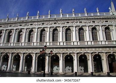 VENICE, ITALY - SEPTEMBER 02, 2012: Facade of the National Library (Biblioteca Nazionale Marciana) in St Mark's Square