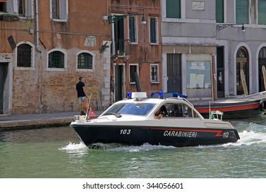 VENICE, ITALY - SEPTEMBER 02, 2012: Police boat in Venice