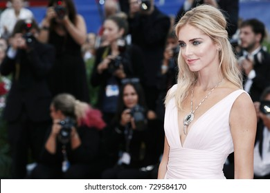 VENICE, ITALY - SEPTEMBER 02: Chiara Ferragni attends the 'Suburbicon' premiere during the 74th Venice Film Festival on September 2, 2017 in Venice, Italy.