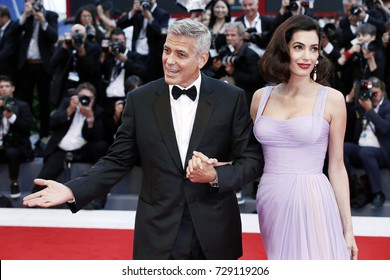 VENICE, ITALY - SEPTEMBER 02: George Clooney and Amal Alamuddin attend the 'Suburbicon' premiere during the 74th Venice Film Festival on September 2, 2017 in Venice, Italy.