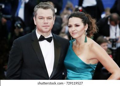 VENICE, ITALY - SEPTEMBER 02: Matt Damon and Luciana Barroso attend the 'Suburbicon' premiere during the 74th Venice Film Festival on September 2, 2017 in Venice, Italy.