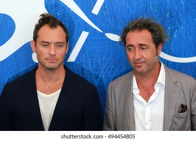 VENICE, ITALY - SEPTEMBER 03: Jude Law and Paolo Sorrentino  during the 73th Venice Film Festival 2016 in Venice, Italy