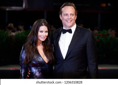 VENICE, ITALY - SEPTEMBER 03: Kyla Weber and Vince Vaughn walk the red carpet of the movie 'Dragged Across Concrete' during the 75th Venice Film Festival on September 3, 2018 in Venice, Italy.
