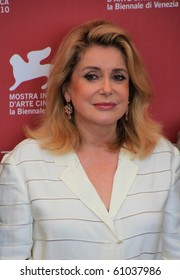 VENICE, ITALY - SEPTEMBER 04: Close-up of actress Catherine Deneuve posing for photographers at 67th Venice Film Festival September 04, 2010 in Venice, Italy.