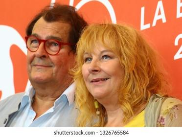 VENICE, ITALY - SEPTEMBER 05: Bruno Raffaelli and Yolande Moreau attends 'The Summer House (Les Estivants)' photocall during the 75th Venice Film Festival on September 5, 2018 in Venice, Italy