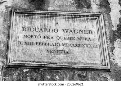 VENICE, ITALY - SEPTEMBER 06 2013: Scene from Venice City, Italy. Death Plate of Richard Wagner
