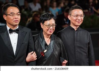 VENICE, ITALY - SEPTEMBER 06: Director Ann Hui (C) attends 'The Golden Era' (Huangjin Shidai) premiere during the 71st Venice Film Festival on September 6, 2014 in Venice, Italy.
