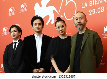 VENICE, ITALY - SEPTEMBER 07: (L-R) Ryusei Maeda, Sosuke Ikematsu, Shin'ya Tsukamoto and Yu Aoi attend 'Killing (Zan)' photocall during the 75th Venice Film Festival on September 7, 2018 in Venice