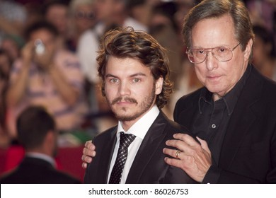 VENICE, ITALY - SEPTEMBER 08: Actor Emile Hirsch and William Friedkin attend the 'Killer Joe' premiere during the 68th Venice Film Festival at Palazzo del Cinema on September 8, 2011 in Venice, Italy.
