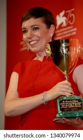 VENICE, ITALY - SEPTEMBER 08: Olivia Colman poses with the Coppa Volpi for Best Actress Award for 'The Favourite' at the Winners Photocall during the 75th Venice Film Festival on September 8, 2018