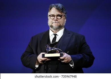 VENICE, ITALY - SEPTEMBER 09: Guillermo del Toro receives the Golden Lion for the Best Film during the Award Ceremony of the 74th Venice Film Festival on September 9, 2017 in Venice, Italy.