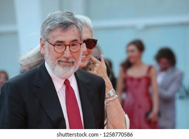 VENICE, ITALY - SEPTEMBER 09: John Landis and Deborah Nadoolman Landis arrive at the Award Ceremony during the 74th Venice Film Festival at Sala Grande on September 9, 2017 in Venice, Italy