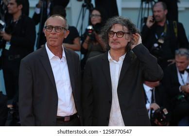 VENICE, ITALY - SEPTEMBER 09: Kamel El Basha (L) and Ziad Doueiri arrive at the Award Ceremony of the 74th Venice Film Festival at Sala Grande on September 9, 2017 in Venice, Italy.