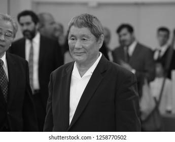 VENICE, ITALY - SEPTEMBER 09: Takeshi Kitano arrives at the Award Ceremony of the 74th Venice Film Festival at Sala Grande on September 9, 2017 in Venice, Italy