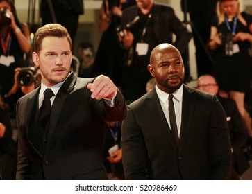 VENICE, ITALY - SEPTEMBER 10, 2016: Antoine Fuqua (R), Chris Pratt (L)  attend  premiere of ' 'The Magnificent Seven'  during the 73th Venice Film Festival 2016 in Venice, Italy