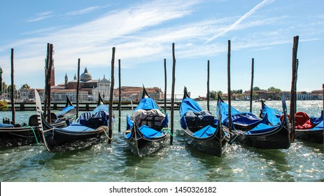 Venice, Italy - September 12, 2007: Gondolas parking