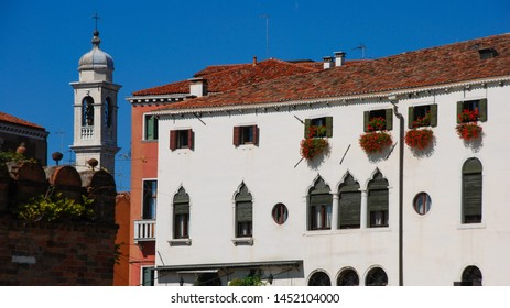 Venice, Italy - September 12, 2007: City houses Facade