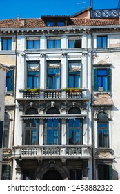 Venice, Italy - September 12, 2007: Facade of city houses