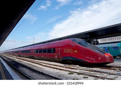 VENICE, ITALY- SEPTEMBER 14: Nuovo Trasporto Viaggiatori's fast train, Italo in Venice Santa Lucia Station on September 14,2014. Italo is the rapid train which connects main cities in Italy.