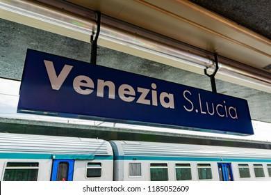 Venice, Italy - September 15, 2018: Venice St. Lucia Railway Station (Stazione di Venezia Santa Lucia)