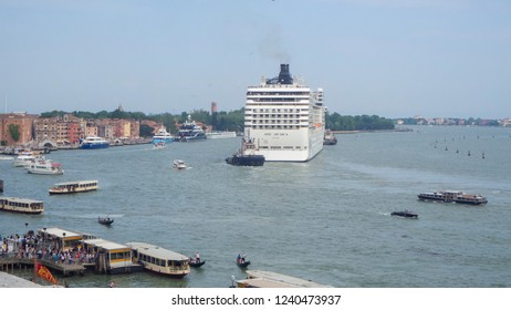 Venice, Italy. September 15, 2018. A cruise ship is crossing the basin of San Marco
