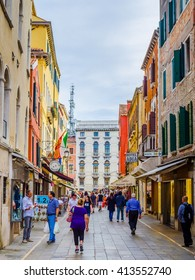 VENICE, ITALY, SEPTEMBER 20, 2015: crowds of tourists are passing through busy rio tera lista di spagna street connecting santa lucia train station with northern part of the city
