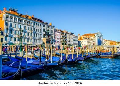 VENICE, ITALY, SEPTEMBER 20, 2015: Detail of gondolas anchoring near piazza san marco in italian city venice