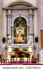 VENICE, ITALY - SEPTEMBER 21, 2017 San Vidal Church Altarpiece Basilica Venice Italy.  Now a concert hall.  San Vidal Painting by Vittore Carpaccio in 1514.