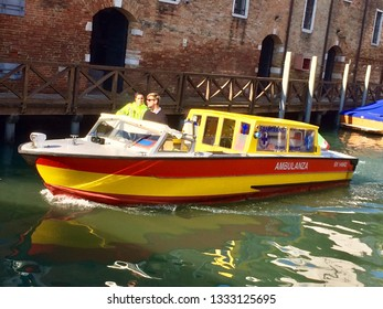 Venice / Italy - September 21 2017: Water Ambulance in Venice