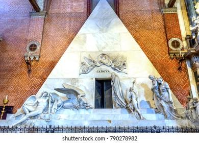 VENICE, ITALY -  SEPTEMBER 21, 2017 Santa Maria Gloriosa de Frari Church Canova Tomb San Polo Venice Italy.  Church completed mid 1400s.  Tomb of famous sculptor created 1822.