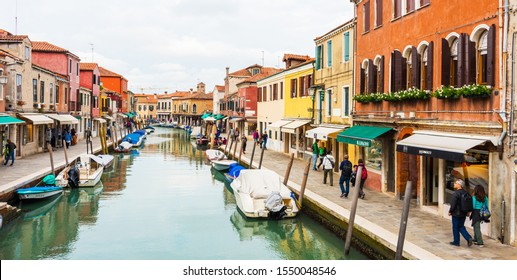 VENICE, ITALY - SEPTEMBER 25, 2019: MURANO ISLAND, VENICE, ITALY. Colorful traditional houses in the Murano. Murano Island in the Venetian Lagoon, Northern Italy.