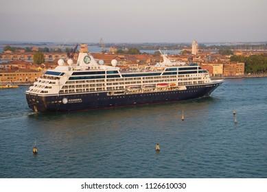 "VENICE, ITALY - SEPTEMBER 26, 2017: Modern cruise liner ""Azamara Quest"" in the Venetian lagoon"