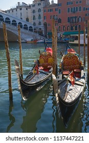 VENICE, ITALY - SEPTEMBER 27, 2017: Two gondolas on the Grand canal close up