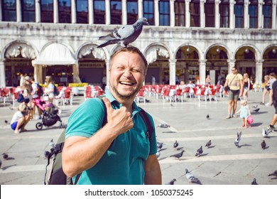 VENICE, ITALY - SEPTEMBER 28, 2016: view  at the happy smiling man  with dove  on the Piazza San Marco, venice