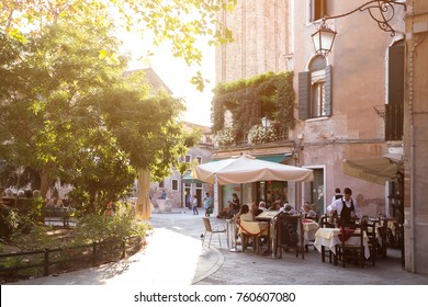 VENICE, ITALY - SEPTEMBER 28, 2016: view of the cafe in the street in Venice. VENICE, ITALY, September 28, 2016