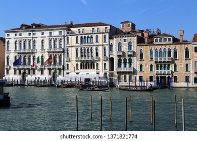 Venice, Italy - September 29, 2018: Historical mansions on the Grand Canal in Venice, Italy on September 29, 2918