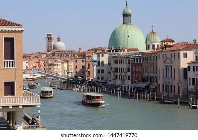 Venice, Italy - September 29, 2018: Ferries on the Grand Canal in Venice, Italy on September 29, 2918