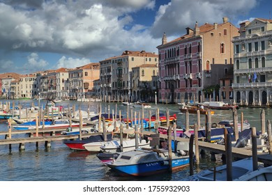 Venice, Italy - September 29, 2018: Historical buildings with hotels along the Canal Grande in Venice, Italy on September 29, 2918