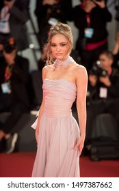 Venice, Italy - september 2nd, 2019 : Lily-Rose Depp on the redcarpet of the movie The King during 76th Venice Film Festival !