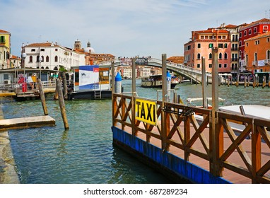 VENICE, ITALY -  September 3: Grand canal,  mooring on the railway station in 2015