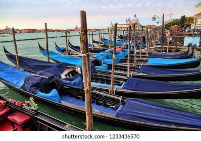 Venice, Italy - September 30, 2018: Gondolas and the Santa Maria della Salute church in Venice, Italy on September 30, 2918