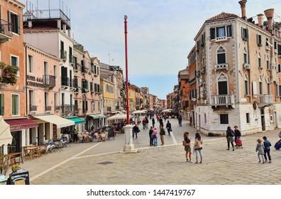 Venice, Italy - September 30, 2018: People walk in the Via Giuseppe Garibaldi street in Venice, Italy on September 30, 2918