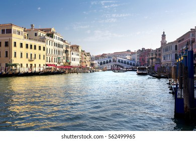 VENICE, ITALY, September 4, 2016: A beautiful view of Rialto's Bridge and the Canal Grande  in Venice, Italy