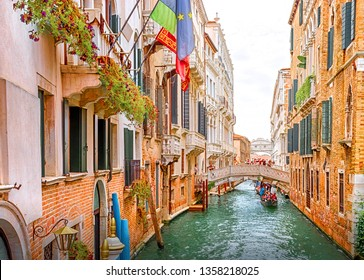 Venice, Venice, Italy - September 5, 2014: Architecture and canals of Venice. Bridge of Sighs.