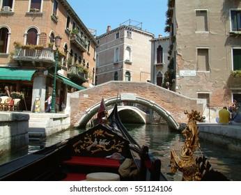 Venice, Italy - September 5, 2016: Gondola on canal in Venice, Italy