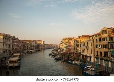 Venice , Italy - September 5 , 2017 : Beautiful view of the morning Grand Canal from the Rialto Bridge  Venice  Italy .