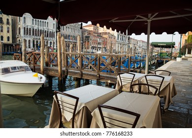 Venice , Italy - September 5 , 2017 : Beautiful view of the Grand Canal in the morning  coffee table on the canal . Venice . Italy .